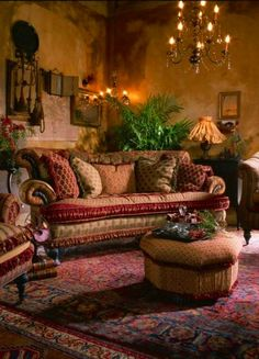 Beautiful cozy bohemian designed living room