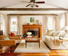 awesome 36 Bright White Living Room with Exposed Wood Ceiling Beams My Living Room, Home And Living, Living Room Furniture, Living Spaces, Living Area, Fireplace Design, Fireplace Mantel, Cream Fireplace, Cottage Fireplace