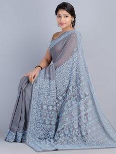 Grey-Blue Chiffon Chikankari Embroidered Saree by Kanish Bhargava