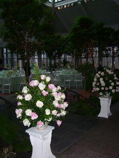 Rose arrangements entering reception