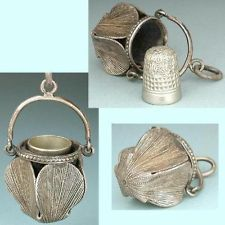 Unusual Antique Chatelaine Thimble Holder / Bucket * Circa 1890