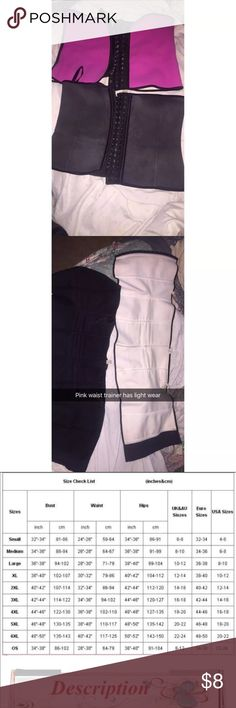 2 latex waist trainers 3 hooks Both are used, both are size xl but the pink one is a couple inches bigger than the black one I've had the pink one for months in my closet and in boxes and has light wear inside (shown in pictures) the black waist trainer is also a size Xl but it's a couple inches smaller, and in good condition the outside of the waist trainer is like that when I wore high waisted jeans it got darker lol idk it was weird I paid $50 for both only asking $8 for both, it's for…