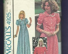 1976  McCalls 4925 Prairie Chic Peter Pan Collar Dress with Bodice Tucks & Buttons Size 10