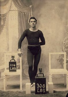 "A daguerreotype of a ""sexy strongman"". Supposedly a Vaudeville performer in the early Old Circus, Vintage Circus, Vintage Men, Vintage Photographs, Vintage Photos, Vintage Stuff, Old Pictures, Old Photos, Circus Strongman"