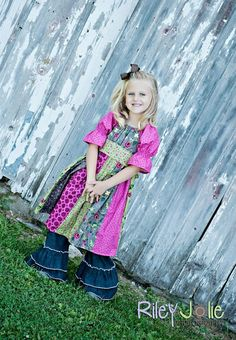 Jewel's stripwork peasant dress PDF pattern from Create kids couture !