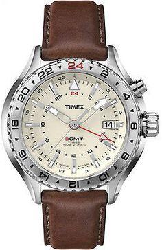 Timex Men's Intelligent Quartz | 3 Time Zones Brown Strap Cream Dial | T2P426