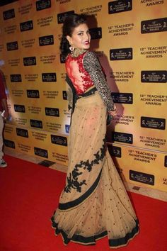 Jacquiline in net saree