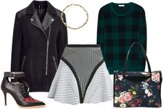 Ohne Titel Maze Rib Knit Skater Skirt, $272, available at Matches Fashion; Equipment Shane Crew Neck Sweater, $288, available at Equipment; H&M Biker-Style Jacket, $59.95, available at H&M; Ted Baker Philli Oil Painting Print Canvas Shopper Bag, $176.20, available at ASOS; Jeffrey Campbell Bonham Plaid Shoes, $184, available at Pixie Market; Accessorize Pyramid Stud and Mesh Chain Necklace, $16, available at Accessorize.