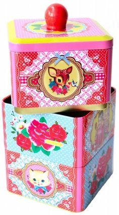 Wu & Wu 3 lagen blik - vrolijk koekjesblik!! Of voor speldjes en elastiekjes... Of voor...