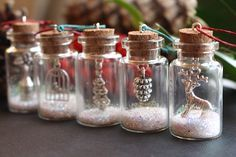 Christmas tree decorations, Christmas tree ornaments, glitter bottles, Christmas gift, Christmas decoration, Reindeer gift, small bottles by GallaghersBoutique on Etsy https://www.etsy.com/listing/209334355/christmas-tree-decorations-christmas