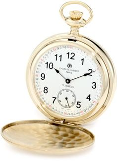 Charles-Hubert, Paris 3908-GRR Premium Collection Gold-Plated Stainless Steel Satin Finish Double Hunter Case Mechanical Pocket Watch * Check out the image by visiting the link.