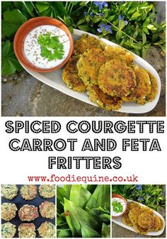 Spiced Courgette, Carrot and Feta Fritters Healthy Side Dishes, Vegan Dishes, Side Dish Recipes, Vegetarian Recipes Dinner, Dinner Recipes, Vegetarian Lunch Ideas For Work, Vegetarian Breakfast, Slaw Recipes, Healthy Recipes