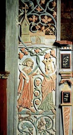 Antique Wood Carvings, from Gothem, region of Gotland, Sweden.  c 1300-1350