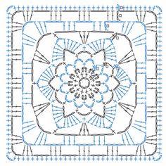 Granny Square Flowers- 50 Botanical Crochet Motifs and 15 Original Projects Motifs Granny Square, Granny Square Crochet Pattern, Crochet Blocks, Crochet Diagram, Crochet Chart, Crochet Squares, Crochet Granny, Knit Crochet, Granny Squares