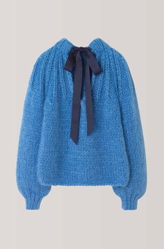 The Julliard Mohair Bow Pullover Marina by Ganna made in Italy B Fashion, Knitwear Fashion, Knit Fashion, Shawl Patterns, Crochet Patterns, Cable Knit Jumper, Cool Sweaters, Chunky Sweaters, Knitting Designs