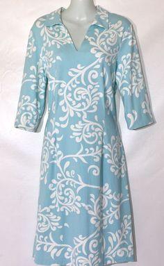 J McLaughlin Jersey Aqua White Swirl Print Stretchy Spandex Dress L  | eBay