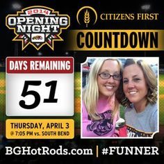 51 days until Opening Night 2014 presented by Citizens First. For your calendar...that is Thursday, April 3 at 7:05 PM vs. South Bend (future Diamondbacks). Promotions for the night coming soon! #FUNNER