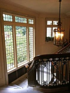 Pittock Mansion stairs and window