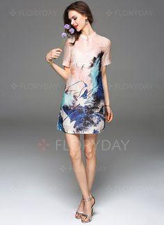 Dresses - $85.59 - Linen Short Sleeve Above Knee Vintage Dresses (1955095863)