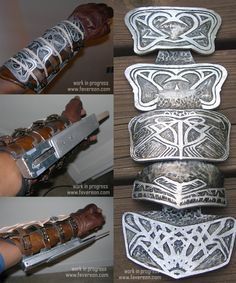 Altair's gauntlet- made out of leather, painted silver