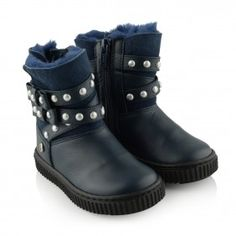 Missouri Girls Navy Leather & Suede Pearl Strap Boots