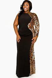 Plus size animal print maxi dresses