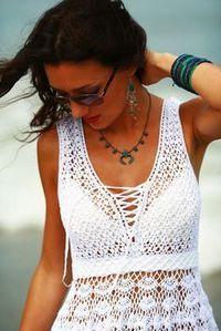 Patrones Crochet, Manualidades y Reciclado: Vestido Blanco Verano Patron