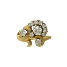 Vintage 14K Yellow Gold and Diamond Ring, c. 1970s-1980s. $1750