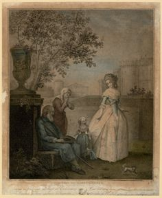 The Queen and Madame Royale assisting a blind man. Louis XVI and Marie-Antoinette were founders of a charitable society called the Maison Philanthropique that cared for the blind, the aged and widows.