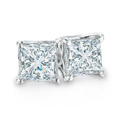 Celebration 102® 1/2 CT. T.W. Princess-Cut Diamond Solitaire Stud Earrings in 18K White Gold (I/SI2)