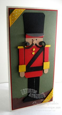 Nutcracker Punch art by Carrie Gaskin at Artistic Avenger . great use of punches and colored card stock . Christmas Punch, Nutcracker Christmas, Christmas Crafts, Merry Christmas, Paper Punch Art, Punch Art Cards, Xmas Cards, Holiday Cards, Ideias Diy