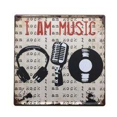 I Am Music Square Metal Sign