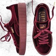 Fenty x puma velvet creepers Sock Shoes, Cute Shoes, Me Too Shoes, Shoe Boots, Puma Creepers, Fenty Creepers, Rihanna Creepers, Rihanna Shoes, Fashion Shoes