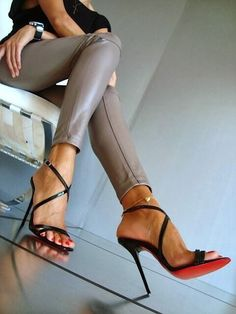 Christian Louboutin ~ Black Leather Sandals