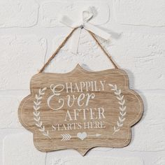 """The """"Happily Ever After Starts Here MDF Plaque"""" is a really cute hanging MDF sign. A really nice idea for an engagement gift, ideal for hanging up in the couples home. Engagement Signs, Engagement Ideas, Wedding Plaques, Cute Signs, Vintage Stil, Happily Ever After, Really Cool Stuff, Christmas Ornaments, Holiday Decor"""