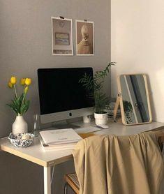 Study Room Decor, Room Ideas Bedroom, Bedroom Decor, Korean Bedroom Ideas, Clean Bedroom, Bedroom Inspo, Ästhetisches Design, Minimalist Room, Aesthetic Room Decor