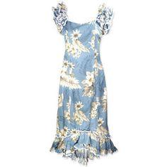 Long, Dress, Hawaiian - Sky Hawaiian Meaaloha Dress