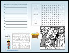 Christmas activity placemat printable |  CatholicPrintablesOnline.com