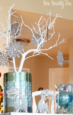 silver and blue centerpiece--the infamous stick tree girls!!!