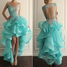 New Design Prom Dress,Appliques Prom Dress,O-Neck Prom Dress,Short Front Long Back Prom Dress F47 Dream dress