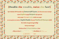 Geboortekaartje Emma & Jef - achterkant - Pimpelpluis - https://www.facebook.com/pages/Pimpelpluis/188675421305550?ref=hl (# vintage - retro - kleurrijk - tekst - ontwerp - tweeling - layout - origineel)