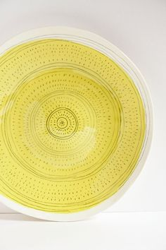 large ceramic plate, fruit and cake serving platter, white stoneware, bright sunshine yellow, minimalist home decor, modern tableware karoart