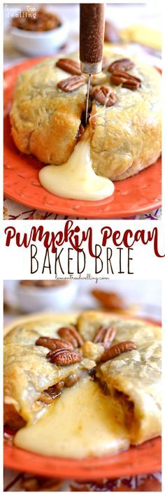 PUMPKIN PECAN BAKED BRIE - Brie cheese, pumpkin butter & pecans, wrapped in puff pastry and baked to ooey gooey perfection! Pumpkin Recipes, Fall Recipes, Holiday Recipes, Thanksgiving Recipes, Holiday Meals, Apple Recipes, Weight Watcher Desserts, Pumpkin Butter, Cheese Pumpkin