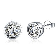 Silver Plated Round Cut Cubic Zirconia Stud Earrings for Girls Gifts * Be sure to check out this awesome product.-It is an affiliate link to Amazon. #WeddingEarrings