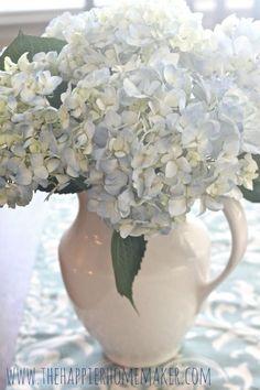 Soft Blue Hydrangeas in White