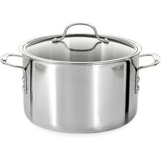 Calphalon 8 Quart Tri-Ply Stainless Steel Stock Pot ($310) ❤ liked on Polyvore featuring home, kitchen & dining, cookware, no color, calphalon, stainless stockpot, stainless stock pot, stainless steel soup pot and calphalon soup pot