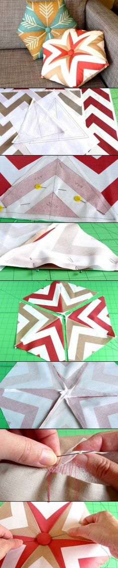 DIY Kaleidoscope Pillow - these would be so cute with snowflake designs or green and red patterns for Christmas presents!