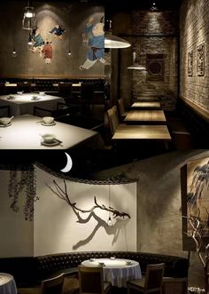 Restaurant with Chinese elements and land, wooden window, beige culture stone Chinese seat + upper wall . Japanese Restaurant Design, Restaurant Interior Design, Oriental Restaurant, Chinese Restaurant, Restaurant Concept, Cafe Restaurant, Commercial Design, Commercial Interiors, Cafe Design