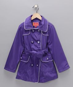 Take a look at this Dollhouse Purple Belted Trench Coat - Girls  by Blow-Out on #zulily today!