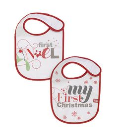 My First Christmas Bibs - 2 Pack. Protect your little one's Christmas outfit from dribbles and spills with these cute bibs.